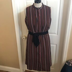Eloqui striped dress with black tie-belt sz 18
